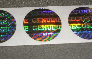 Holographic Tamper Evident Label w/Vinyl Backing